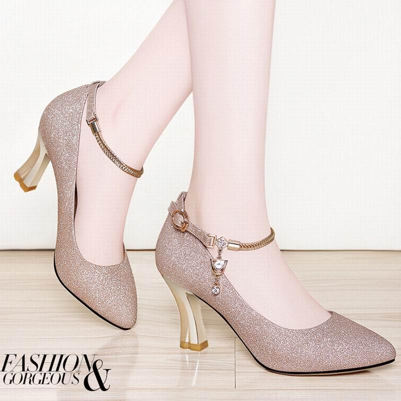 春季新款金色皮鞋女士高跟鞋秋季粗跟单鞋韩版圆头百搭工作鞋 601-金色细跟-单鞋 38