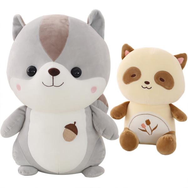 可爱软体小浣熊松鼠兔子公仔抱枕毛绒玩具布娃娃儿童女友生日礼物